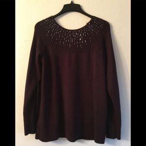 APT.9 Dark Cranberry Knit Sweater